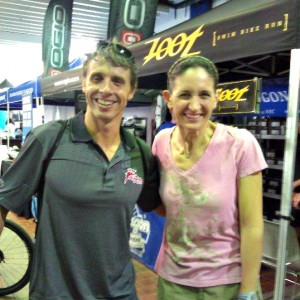 Joan meeting TJ Tollakson at NYC Ironman