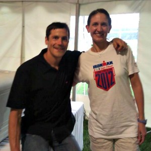 Joan meeting Andy Potts at Ironman Lake Placid