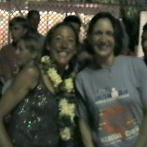 Joan meeting Chrissie Wellington at Ironman Word Championship in Kona