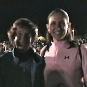 Joan meeting Sr Madonna Buder at Ironman Arizona